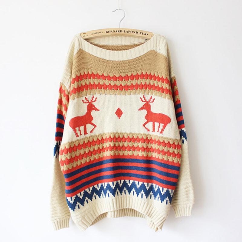 2015-Christmas-Sweater-Cute-Deer-Geometric-Pullovers-Woman-Jacket-High-Qulity-Cheaper